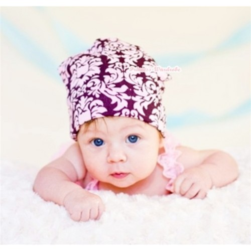 Baby Jumpsuit Cap with Light Pink Damask Print TH236
