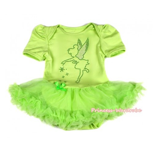 Xmas Light Green Baby Bodysuit Jumpsuit Light Green Pettiskirt with Sparkle Crystal Bling Tinker Bell Print JS2074