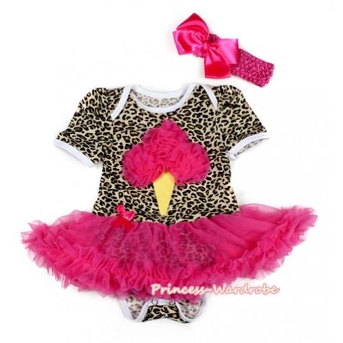 Leopard Baby Bodysuit Jumpsuit Hot Pink Pettiskirt With Hot Pink Rosettes Ice Cream Print With Hot Pink Headband Hot Pink Silk Bow JS2115