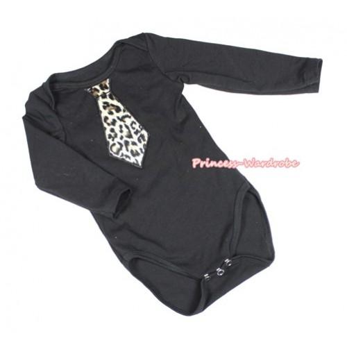 Black Long Sleeve Baby Jumpsuit with Leopard Tie Print LS229