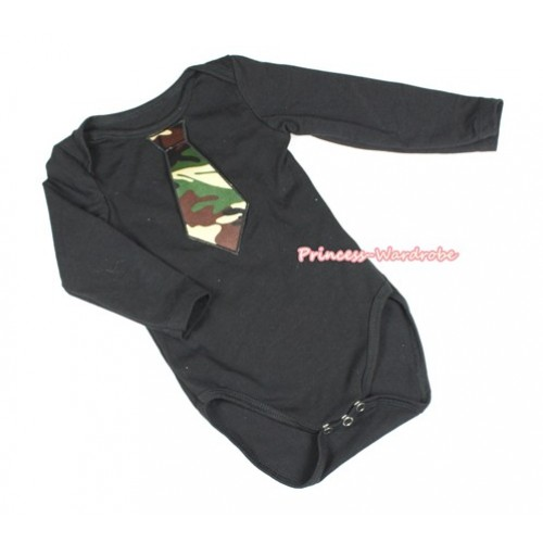 Black Long Sleeve Baby Jumpsuit with Camouflage Tie Print LS230