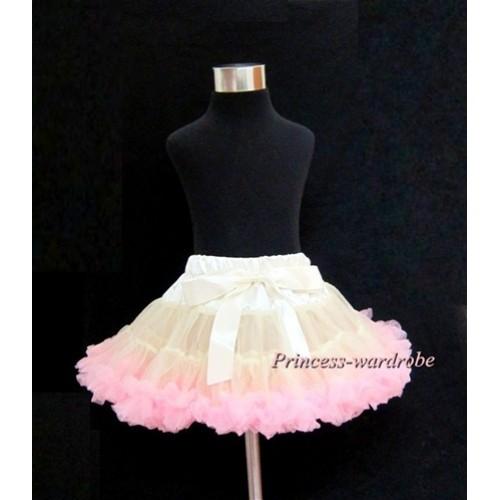 Cream White Light Pink Teen Full Pettiskirt XXL AP36