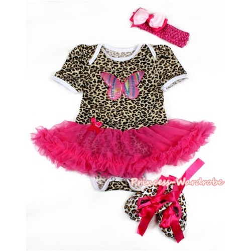 Leopard Baby Bodysuit Jumpsuit Hot Pink Pettiskirt With Rainbow Butterfly Print With Hot Pink Headband Light Hot Pink Ribbon Bow With Hot Pink Ribbon Leopard Shoes JS2131