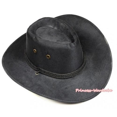 Black Leather Western Cowboy Rope Wide Brim Hat H777