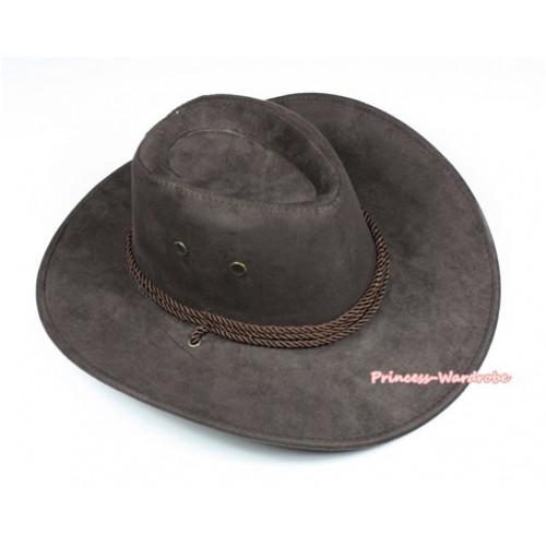 Dark Brown Leather Western Cowboy Rope Wide Brim Hat H778