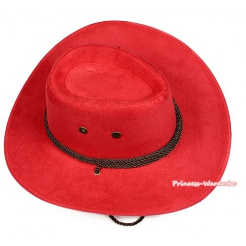 Hot Red Beige Leather Western Cowboy Rope Wide Brim Hat H781