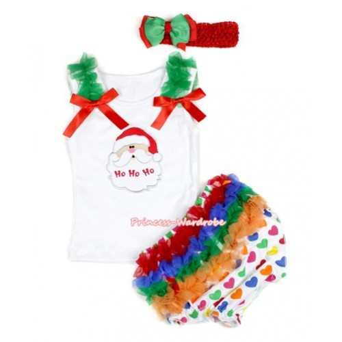 Xmas White Baby Pettitop & Kelly Green Ruffles & Red Bows & Santa Claus Print with White Rainbow Heart Bloomers with Red Headband Green Red Ribbon Bow LD233