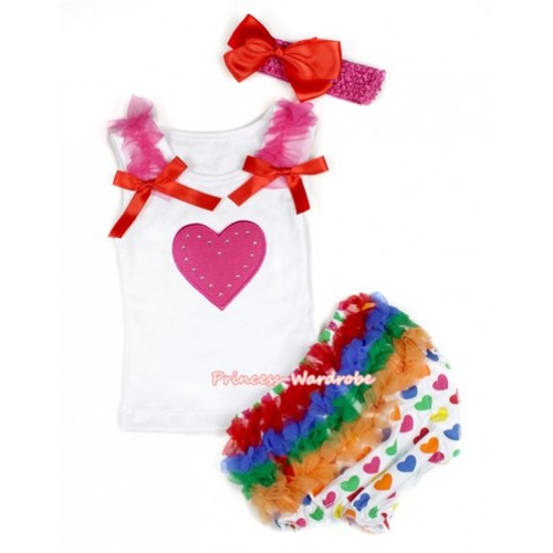 White Baby Pettitop & Hot Pink Ruffles & Red Bows & Hot Pink Heart Print with White Rainbow Heart Bloomers with Hot Pink Headband Red Silk Bow LD237