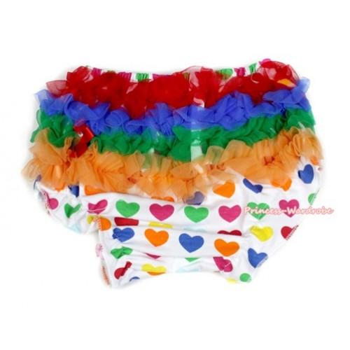 Valentine Rainbow Ruffles White Rainbow Heart Pantie Bloomer B066