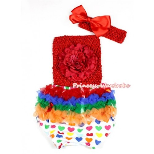 Valentine Rainbow Heart Bloomer ,Red Peony Red Crochet Tube Top,Red Headband Red Silk Bow 3PC Set CT661