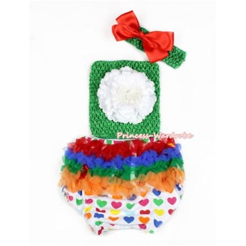 Valentine Rainbow Heart Bloomer ,White Peony Kelly Green Crochet Tube Top,Kelly Green Headband Red Silk Bow 3PC Set CT664