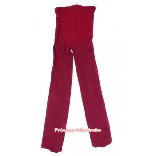 Plain Raspberry Wine Red Leggings Skinny Pants Tights LG260