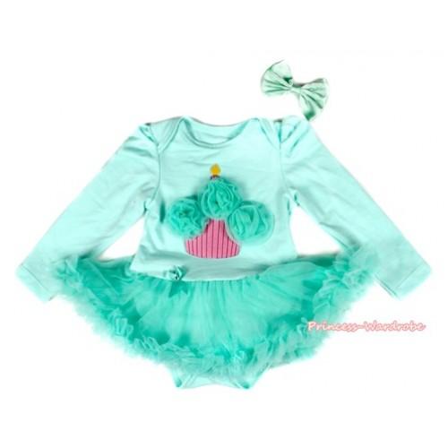 Aqua Blue Long Sleeve Baby Bodysuit Jumpsuit Aqua Blue Pettiskirt With Aqua Blue Rosettes Birtdhay Cake & Aqua Blue Satin Bow JS2176