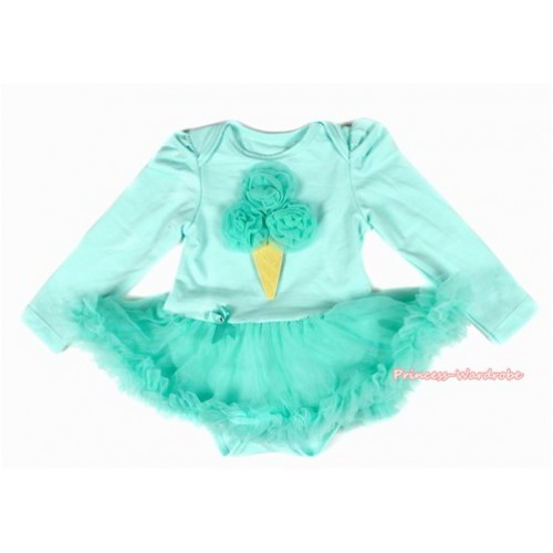 Aqua Blue Long Sleeve Baby Bodysuit Jumpsuit Aqua Blue Pettiskirt With Aqua Blue Rosettes Ice Cream Print JS2141
