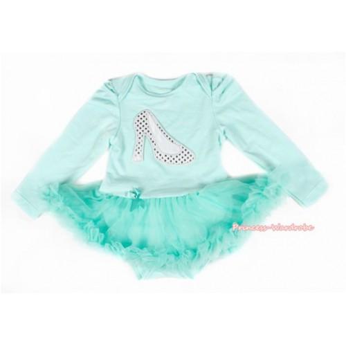 Aqua Blue Long Sleeve Baby Bodysuit Jumpsuit Aqua Blue Pettiskirt With Sparkle White High Heel Shoes Print JS2142