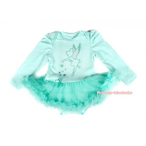 Aqua Blue Long Sleeve Baby Bodysuit Jumpsuit Aqua Blue Pettiskirt With Sparkle Crystal Bling Tinker Bell Print JS2153