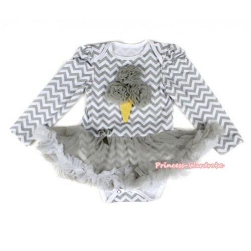 Grey White Wave Long Sleeve Baby Bodysuit Jumpsuit Grey White Pettiskirt With Grey Rosettes Ice Cream Print JS2222