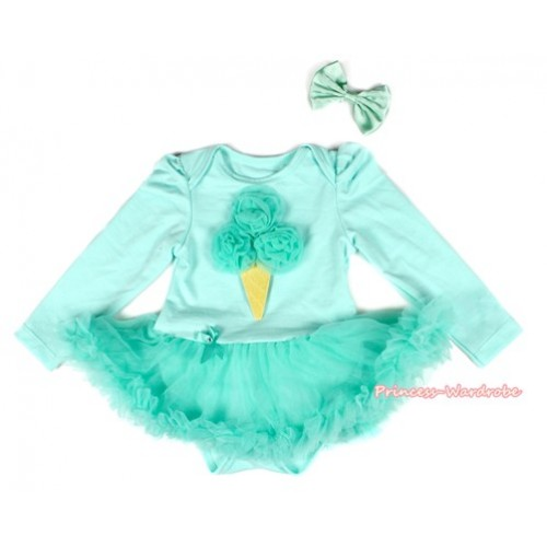Aqua Blue Long Sleeve Baby Bodysuit Jumpsuit Aqua Blue Pettiskirt With Aqua Blue Rosettes Ice Cream & Aqua Blue Satin Bow JS2177
