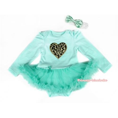 Aqua Blue Long Sleeve Baby Bodysuit Jumpsuit Aqua Blue Pettiskirt With Leopard Heart Print & White Headband Aqua Blue Satin Bow JS2179