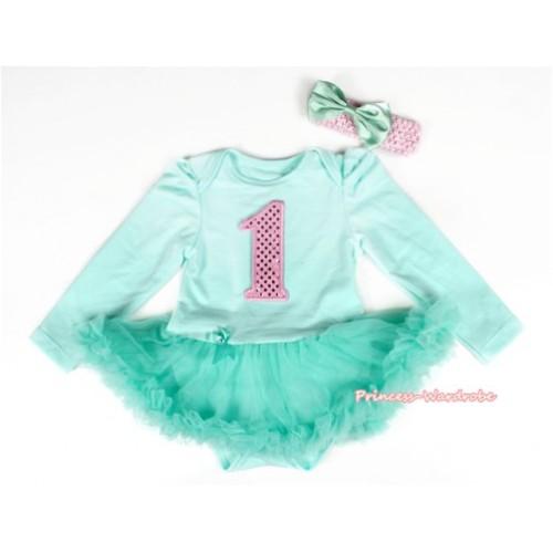 Aqua Blue Long Sleeve Baby Bodysuit Jumpsuit Aqua Blue Pettiskirt With 1st Sparkle Light Pink Birthday Number Print & Light Pink Headband Aqua Blue Satin Bow JS2188
