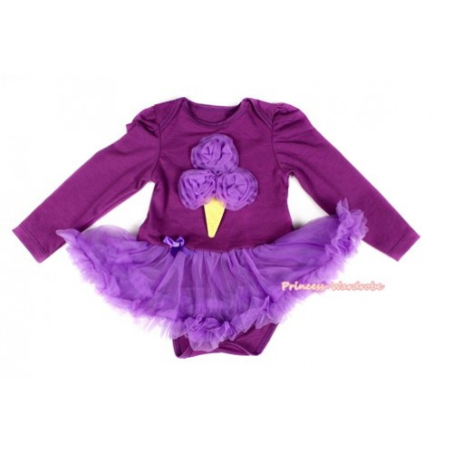 Dark Purple Long Sleeve Baby Bodysuit Jumpsuit Dark Purple Pettiskirt With Dark Purple Rosettes Ice Cream Print JS2263