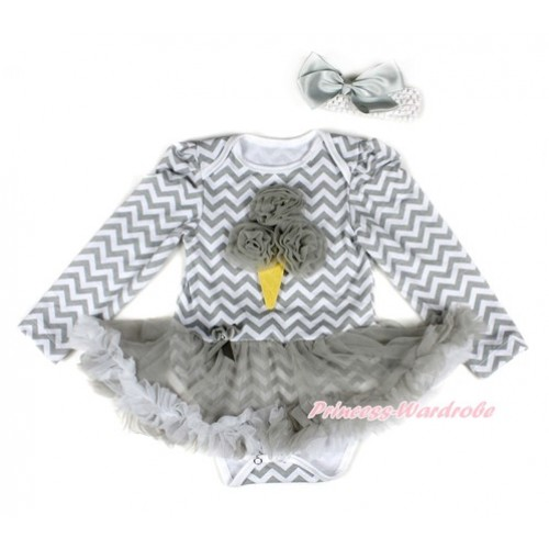 Grey White Wave Long Sleeve Baby Bodysuit Jumpsuit Grey White Pettiskirt With Grey Rosettes Ice Cream Print & White Headband Grey Silk BowJS2235