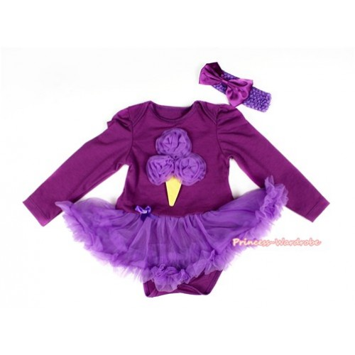 Dark Purple Long Sleeve Baby Bodysuit Jumpsuit Dark Purple Pettiskirt With Dark Purple Rosettes Ice Cream Print & Dark Purple Headband Dark Purple Satin Bow JS2276