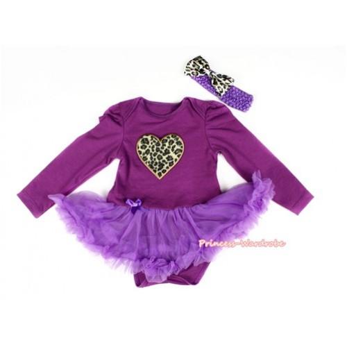 Dark Purple Long Sleeve Baby Bodysuit Jumpsuit Dark Purple Pettiskirt With Leopard Heart Print & Dark Purple Headband Leopard Satin Bow JS2277