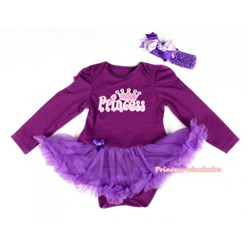 Dark Purple Long Sleeve Baby Bodysuit Jumpsuit Dark Purple Pettiskirt With PRINCESS Print & Dark Purple Headband Light Pink Dark Purple Screwed Ribbon Bow JS2282