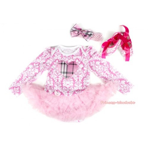 Light Pink White Damask Long Sleeve Baby Bodysuit Jumpsuit Light Pink Pettiskirt With Light Pink Checked Heart Print With Light Pink Headband Light Pink Checked Satin Bow & Hot Pink Ribbon Pink White Damask Shoes JS2218