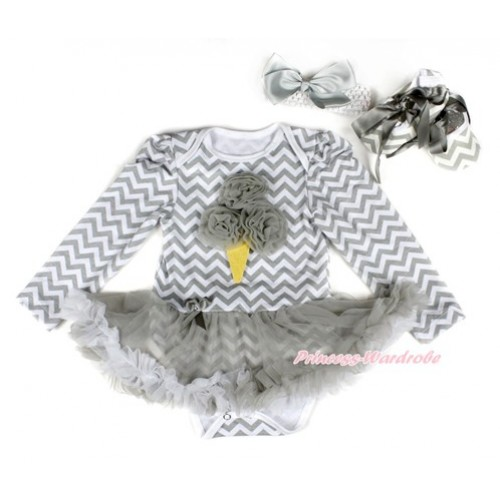 Grey White Wave Long Sleeve Baby Bodysuit Jumpsuit Grey White Pettiskirt With Grey Rosettes Ice Cream Print With White Headband Grey Silk Bow & Grey Ribbon Grey White Wave Shoes JS2248