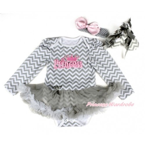 Grey White Wave Long Sleeve Baby Bodysuit Jumpsuit Grey White Pettiskirt With PRINCESS Print With Grey Headband Light Pink Silk Bow & Grey Ribbon Grey White Wave Shoes JS2255