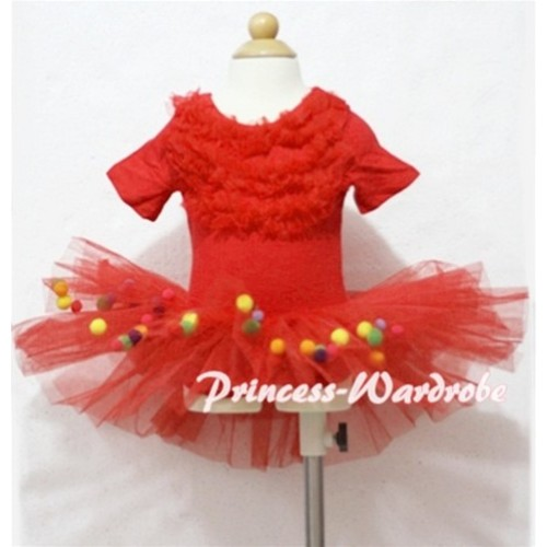Hot Red with Ruffles Ball Ballet Tutu B70