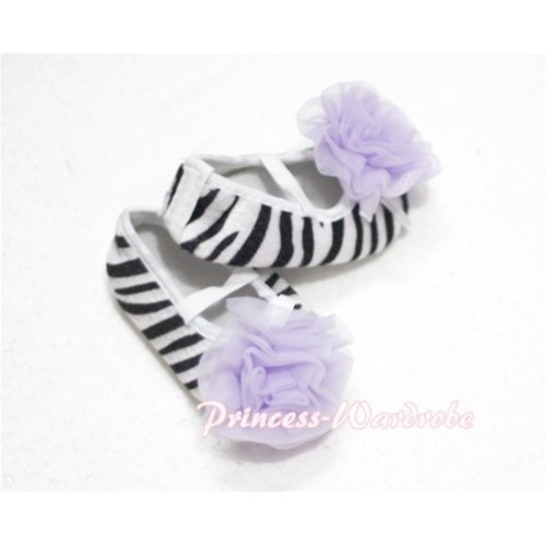 Baby Zebra Crib Shoes with Light Purple Rosettes S105
