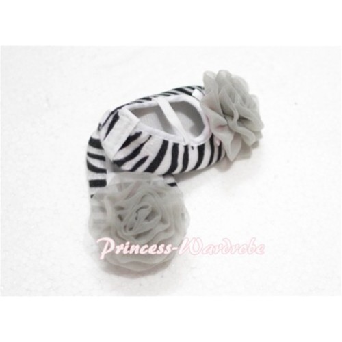 Baby Zebra Crib Shoes with Grey Rosettes S107