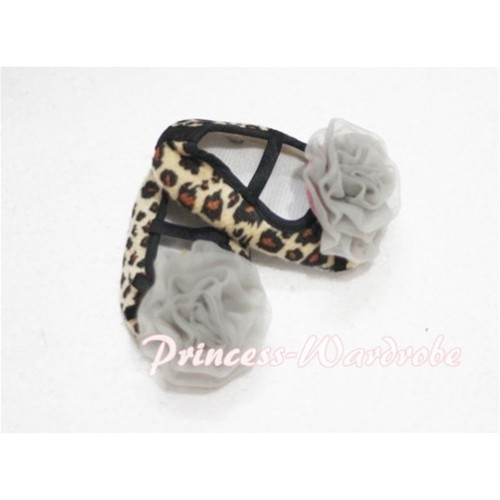 Baby Leopard Crib Shoes with Grey Rosettes S108
