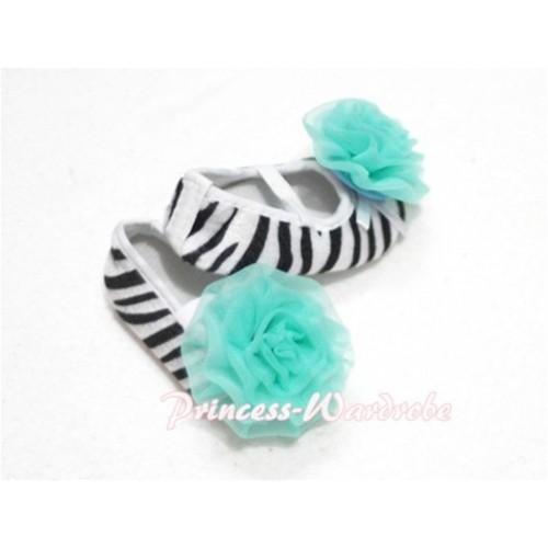Baby Zebra Crib Shoes with Aqua Blue Rosettes S109