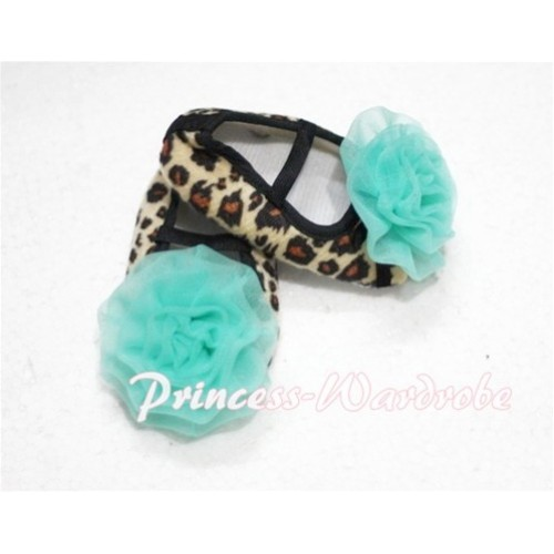 Baby Leopard Crib Shoes with Aqua Blue Rosettes  S110