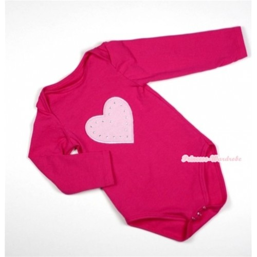 Hot Pink Long Sleeve Baby Jumpsuit with Light Pink Heart Print LS209