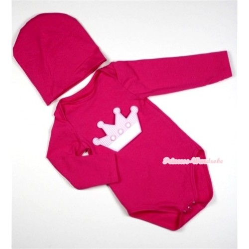 Hot Pink  Long Sleeve Baby Jumpsuit with Crown Print with Cap Set LS02