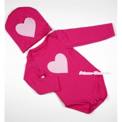 Hot Pink Long Sleeve Baby Jumpsuit with Light Pink Heart Print with Cap Set LS85