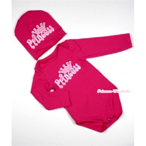 Hot Pink Long Sleeve Baby Jumpsuit with Princess Print with Cap Set LS86