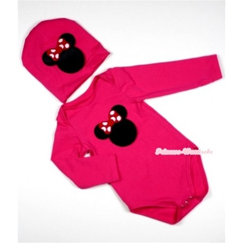 Hot Pink Long Sleeve Baby Jumpsuit with Minnie Print with Cap Set LS87