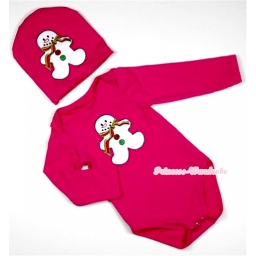 Hot Pink Long Sleeve Baby Jumpsuit with Christmas Gingerbread Snowman Print with Cap Set LS89