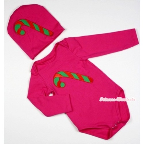 Hot Pink Long Sleeve Baby Jumpsuit with Christmas Stick Print with Cap Set LS91