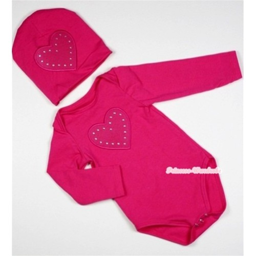 Hot Pink Long Sleeve Baby Jumpsuit with Hot Pink Heart Print with Cap Set LS92