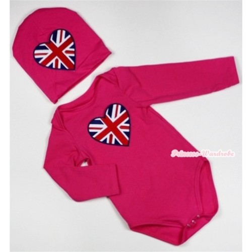 Hot Pink Long Sleeve Baby Jumpsuit with Patriotic British Heart Print with Cap Set LS93