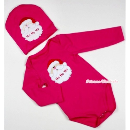 Hot Pink Long Sleeve Baby Jumpsuit with Santa Claus Print with Cap Set LS94