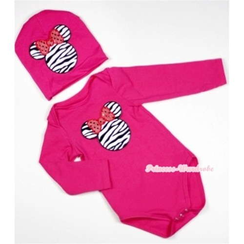 Hot Pink Long Sleeve Baby Jumpsuit with Zebra Minnie Print with Cap Set LS95