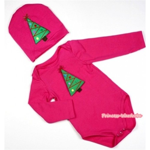 Hot Pink Long Sleeve Baby Jumpsuit with Christmas Tree Print with Cap Set LS98
